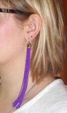 EXTRA Long Slinky Purple Tassle/Tassel Drop EARRINGS for Pierced Ears