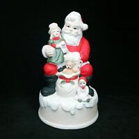 Vintage Ceramic Santa Christmas Musical With Dolls & Toys Plays Toy Land
