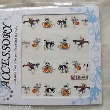 Nail Art Water Decals Stickers Halloween Glitter Pumpkins Cats Gel Polish bjc42