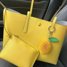 🌸 NWT Kate Spade New York Molly Large Tote Leather with Pouch Lemon cake $228