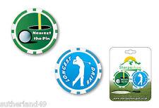 Société de prix - 2 poker chip set golf ball marker plus proche pin/le plus long drive