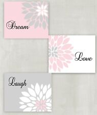 Dream Love Laugh - Pink Gray and White  Set of 3 8x10 Nursery Wall Art