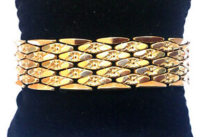 """14K Yellow Gold 7.75"""" Wide Heavy Link Bracelet - Stunning - ITALY - MUST SEE"""