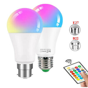 5W B22 E27 RGB LED Light Bulb Lamp 16 Colour Changing With IR Remote Control