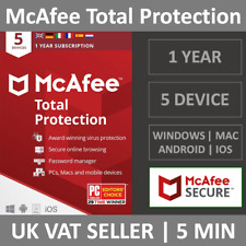 McAfee Total Protection 2020 | 5 Devices | 1 Year | PC/Mac/Phone | Security