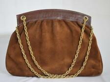 Vintage Brown Suede Leather Rope Chain Handle Handbag Purse~Made in Italy