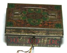SUPERB ANTIQUE MONEY CASH BOX GIRAFFE BRAND TIN PLATE WITH KEY