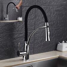 brass 360°Rotation Kitchen Sink Mixer Taps Black Rubber Chrome Modern H&C Tap