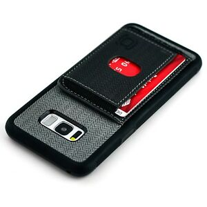 Galaxy S8+ Bumper Case Multiple Card Wallet Flap Kickstand, by Dockem Black/Grey