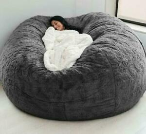 Soft Bean Bag Seat Cover Big Round 7ft Lounger Sofa Fluffy PV Fur Lazy Slipcover