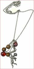 PILGRIM SILVER PLATED CHAIN NECKLACE BEADS RED SWAROVSKI CRYSTALS ANGEL PENDANT
