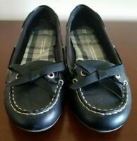 Sperry Top Sider Flats Shoes Women's Size 8.5 Black Leather Slip On Work