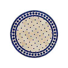 Marokkanischer Garten Tisch Mosaiktisch Bistrotisch Teetisch D60cm Blau & Beige