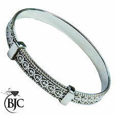 Solid Sterling Silver Baby / Child Birthday Christening Expandable Bangle Gift