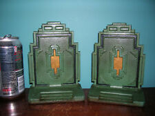 Art Deco architectural bookends cast iron Bradley Hubbard, original paint, 1930
