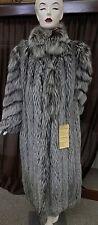 "Gorgeous Silver Fox Fur 50"" Coat with diagonal sleeve design, Size 10/12"