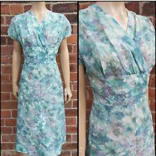 50s/60s Vintage Pretty Watercolour Floral Print Button Detail Wiggle Dress Volup