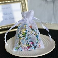 12x White Small Flower Lace Favor Bag Pouches with Satin Ribbon ships from USA