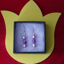 Beautiful Earrings With Bronz Pearls & Amethyst 5.6 Gr.3.5 Cm.Long+ Silver Hooks