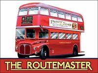 ROUTEMASTER RED LONDON DOUBLE DECKER BUS METAL PLAQUE SIGN VINTAGE NOSTALGIC 345