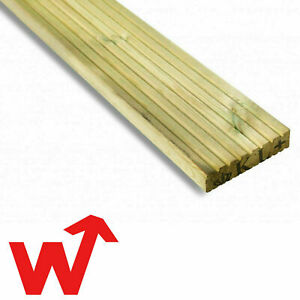 Timber Decking Boards Tanalised Pressure Treated Wood 125mm Wide x 32mm Thick