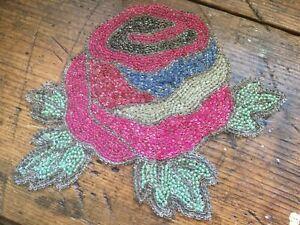 Antique Vintage Czech Glass Beaded Rose Appliqué~Embellishment~Trim Sewing~Craft