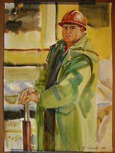 Russian Ukrainian Soviet Painting male portrait Impressionism working man