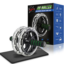Ab Roller Wheel Core Strength Abdominal Training Exercise Workout inc Knee Mat