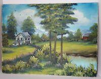 Primitive Barn Lake Cabin Mountains Garden Oil Painting on Canvas Farm Decor