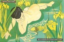 Bloomsbury postcard fair 1990 poster advertising beauty frog postcard