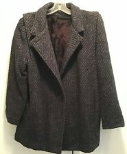 Vintage Women's Dark Blue Tweed Coat - Size 10-12
