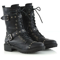 Femmes Mi-Mollet lacet Motard émaillé punk bottes de combat militaire chaussures