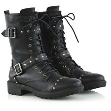 Womens Mid Calf Lace Up Biker Ladies Studded Punk Military Combat Boots Shoes
