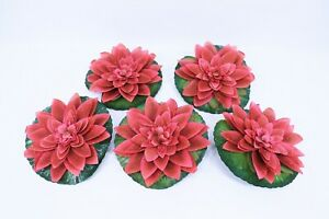 Jumbo Silk Water Lilies Set of 5 - RED - Flowers -Wedding Reception or Pond Gift