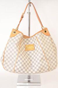 Louis Vuitton ivory coated canvas leather check hobo handbag purse NEW $1680