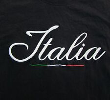 Italia Women's T-Shirt Large Italian Spellout Italy Black Lauri MJ Short Sleeve