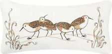 SANDPIPER COVE PILLOW : BEACH HOUSE EMBROIDERED SURF SAND ACCENT CUSHION