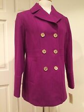 Michael Kors Coat Peacoat Trench Wool Blend Double Breasted Purple Violet L $275