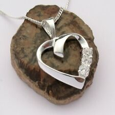 Herz Kette Echt Sterling Silber 925 Damen Liebe Halskette Anhänger Frauen