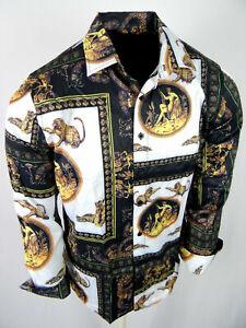 Mens Shirt Black White Designer Animal Prints SIlky Stretch Slim Fit Button Up