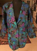 RETRO Damen-Blazer SOMMERMANN Gr. 40 sehr bunt - türkis-blau-braun Jacke