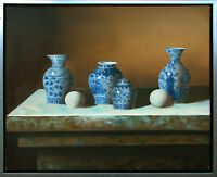 Henri Gautier *1955: Stilleben Keramik weiß-blau Porzellan Ölgemälde Unikat