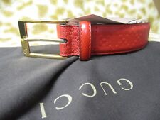 GUCCI RED LEATHER MENS BELT 38 / 95 NEW NWT