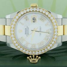Rolex Datejust II 2-Tone 41MM 116333 w/Diamond Roman & 3.07Ct Bezel Box&Papers