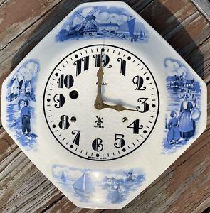 Vintage Irving Miller 8 Day Clock Blue Transferware Dutch Holland Windmill USA