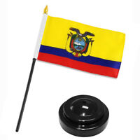 "Ecuador 4""x6"" Flag Desk Set Table Stick Black Base"