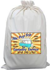 Pop Top Caravan Laundry Service - Natural (Cream) Cotton Laundry Bag / Sack Aqua
