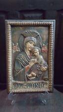 AVE MARIA en ALTORRELIEVE Cuadro religioso Virgen Maria Niño Jesús Siglo XlX