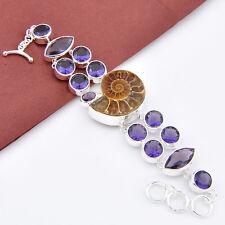 Genuine Handmade Ammonite Fossil Mystic Amethyst Gems Silver Charming Bracelets