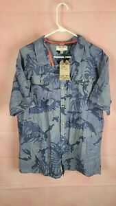Triple Five Soul Mens Shirt XXL Hawaiian Leaves Floral Cotton Short Sleeve NWT
